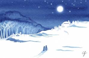 Illustrazione viaggio nella città della neve