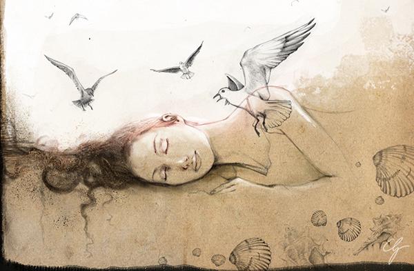 Illustrazione ragazza che sogna in spiaggia