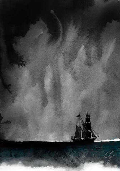 Illustrazione brigantino La Folgore nella tempesta