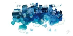 Illustrazione città blu sulle bolle