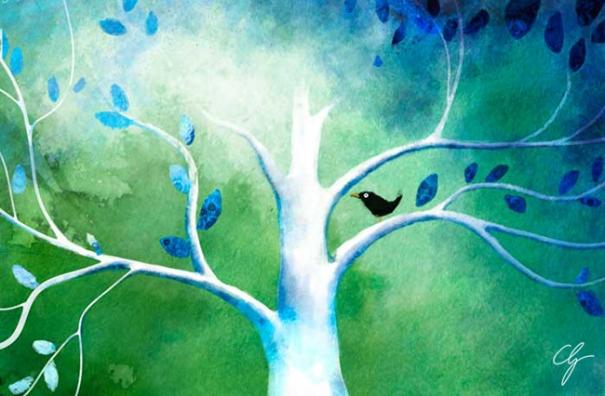 Illustrazione merlo sull'albero