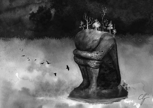 Illustrazione la ragazza è un'isola di pietra nel lago