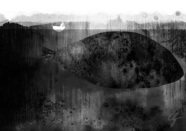 Illustrazione pesce gigante nel lago nero