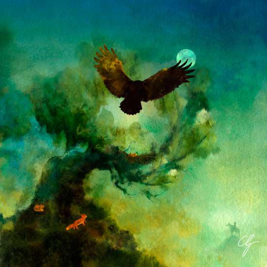 Illustrazione fiaba croata, albero magico