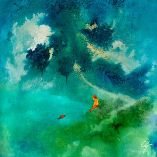 Illustrazione fiaba croata, principe parla al pesce