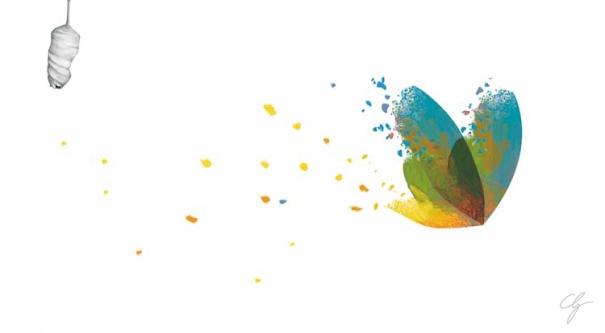 Farfalla stilizzata e colorata che vola