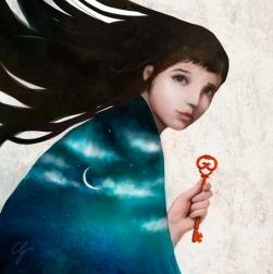 Illustrazione ragazza con chiave