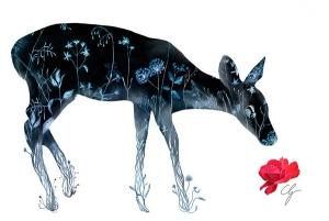 Illustrazione cerbiatto di fiori