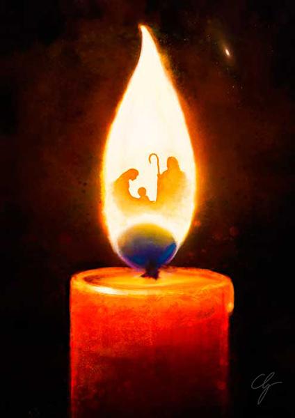 Illustrazione presepe nella fiamma della candela
