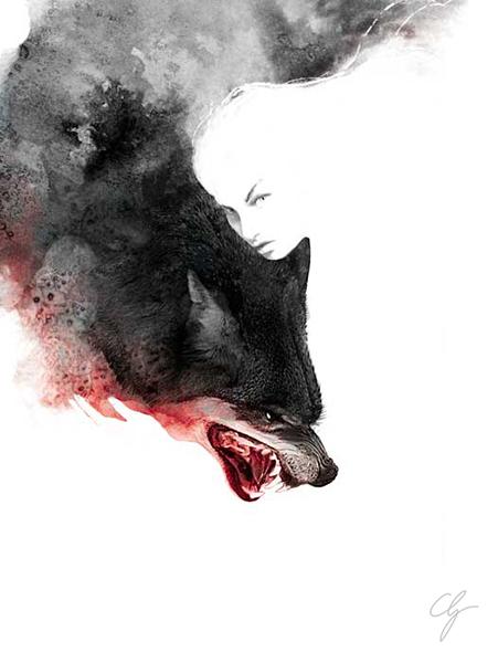 Illustrazione trasformazione e illusione ragazza lupo
