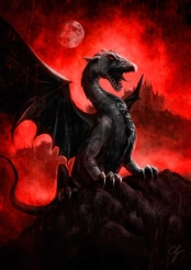 Illustrazione drago di pietra