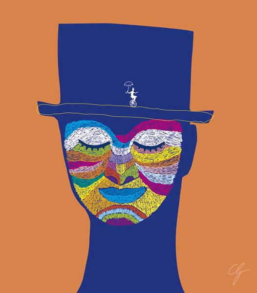 Illustrazione vettoriale volto colorato artista di strada
