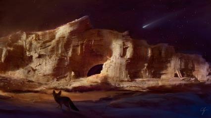 tramonto su rocce del deserto e cielo stellato con fennec