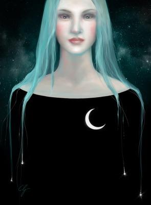 Illustrazione donna con cielo di stelle e luna